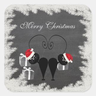 Chalkboard funny whimsical Santa cat couple Square Sticker