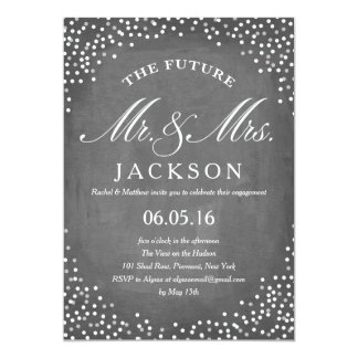 Chalkboard Future | Engagement Party 5x7 Paper Invitation Card