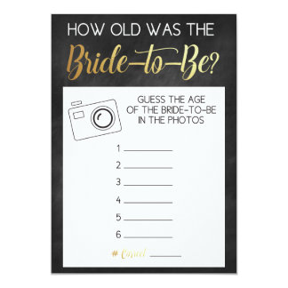 Chalkboard Game- Guess Bride's Age from Photos Card