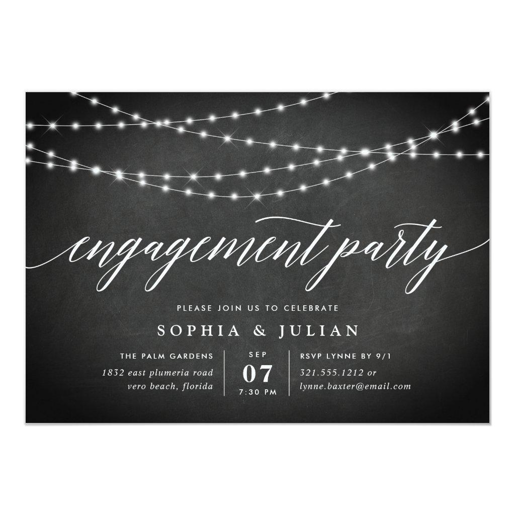 Chalkboard Garland Engagement Party Invitation