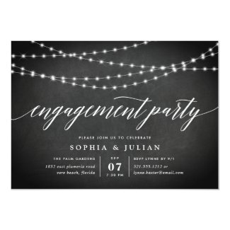 Chalkboard Garland Engagement Party Invitation