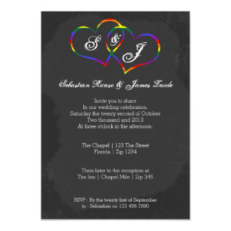 Chalkboard Gay Pride Rainbow Heart Doodle Wedding Card