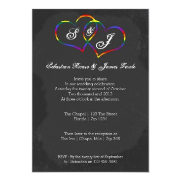 Valentines Themed Chalkboard Gay Pride Rainbow Heart Doodle Wedding Card