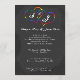 Chalkboard Gay Pride Rainbow Heart Doodle Wedding Invitation