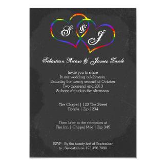 Chalkboard Gay Pride Rainbow Heart Doodle Wedding Invitation