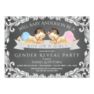 Chalkboard Gender Reveal Baby Shower Invitations