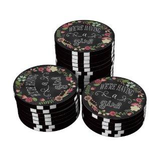 Chalkboard Gender Reveal Girl Souvenir Poker Chip Poker Chips Set