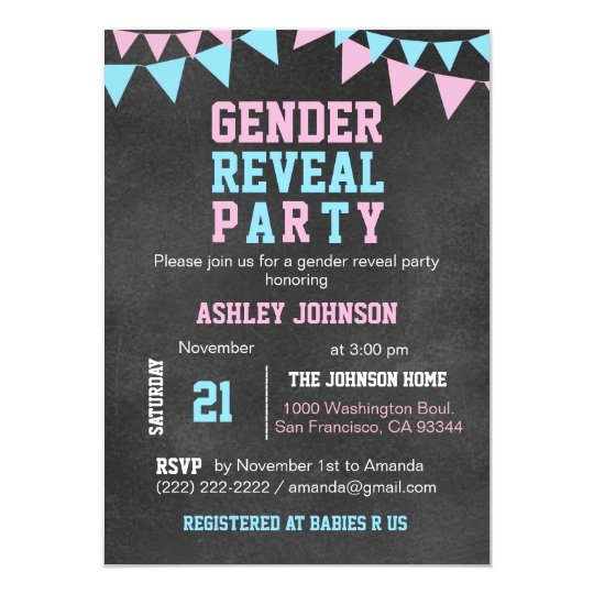 chalkboard gender reveal party baby shower invitation zazzle com