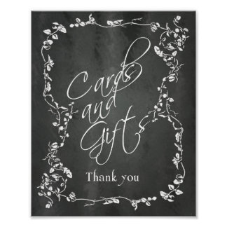 Chalkboard Gifts and Cards Thank You Wedding Sign Poster