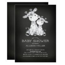 Chalkboard Giraffe Neutral Baby Shower Invitation