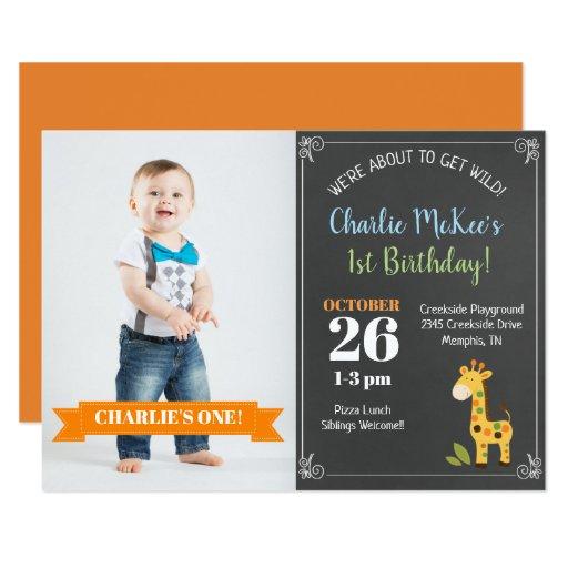 Chalkboard Giraffe Trendy Birthday Photo Invite