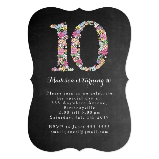 Chalkboard Girls Floral 10th Birthday Party Invite