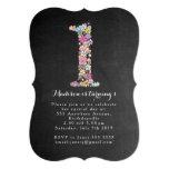 "Chalkboard Girls Floral 1st Birthday Party Invite 5"" X 7"" Invitation Card"