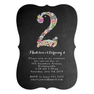 2 year old birthday invitations announcements zazzle chalkboard girls floral 2nd birthday party invite filmwisefo