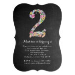 """Chalkboard Girls Floral 2nd Birthday Party Invite 5"""" X 7"""" Invitation Card"""