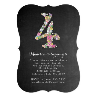 Chalkboard Girls Floral 4th Birthday Party Invite