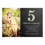 Chalkboard Girls Floral 5th Birthday Party Invite