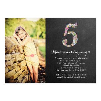 "Chalkboard Girls Floral 5th Birthday Party Invite 5"" X 7"" Invitation Card"