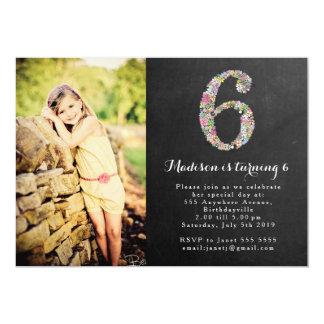 "Chalkboard Girls Floral 6th Birthday Party Invite 5"" X 7"" Invitation Card"