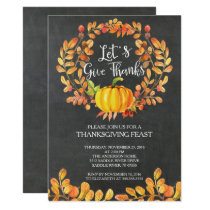 Chalkboard Give Thanks PumpkinThanksgiving Dinner Invitation