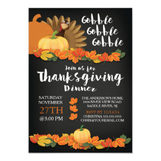 Chalkboard Gobble Turkey Thanksgiving Invitation at Zazzle