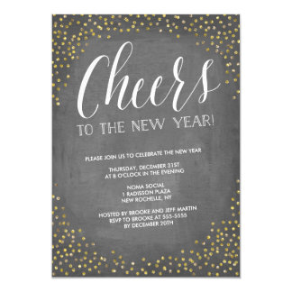 Chalkboard Gold Cheers New Year's Eve Party Card