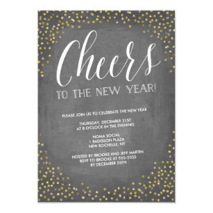chalkboard gold cheers new years eve party invitation
