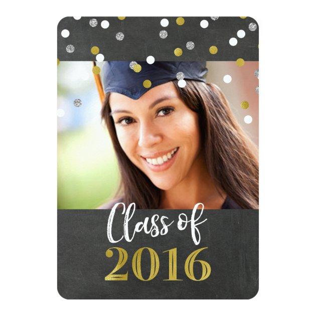 Chalkboard Gold Confetti Photo Graduation Party 5x7 Paper Invitation Card