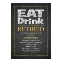Chalkboard Gold Effect Funny Retirement Party Card