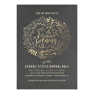 Chalkboard Gold Foil Floral Bouquet Ball Card