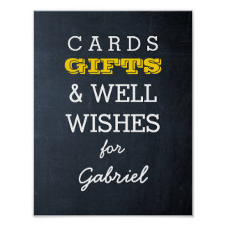 Chalkboard Gold Gift Table Sign