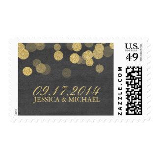 Chalkboard Gold Gitter Wedding Postage Stamp