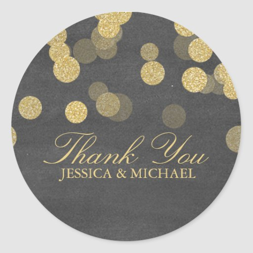 Chalkboard Gold Glitter Thank You Sticker