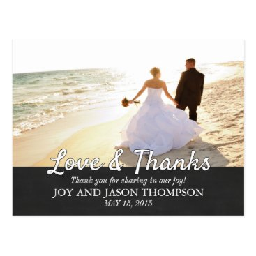 Beach Themed Chalkboard Gold Glitter Thank You Wedding Postcard