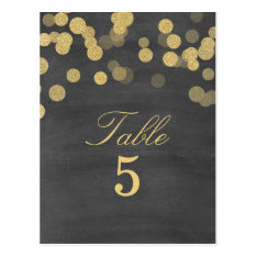 Chalkboard Gold Glitter Wedding Table Number Postcard at Zazzle