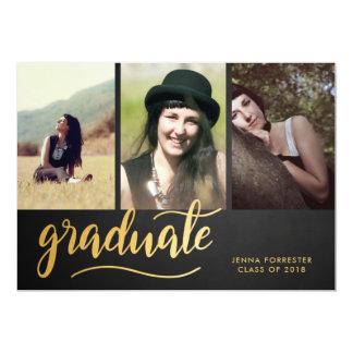 Chalkboard Gold Graduate Script | Three Photo Card