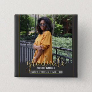 Chalkboard & Gold Graduation | Custom Photo Pinback Button