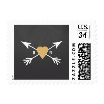 Chalkboard Gold Heart   Arrow Wedding Postage