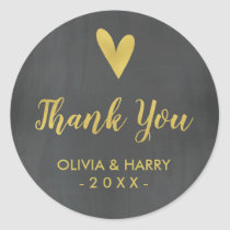 Chalkboard Gold Heart Wedding Favor Stickers