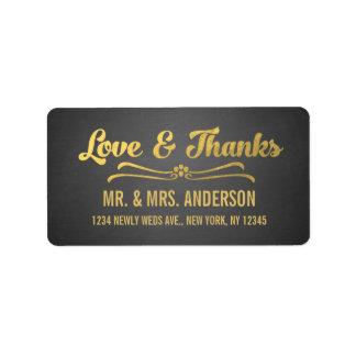 Chalkboard Gold Script Wedding Thank You Address Label