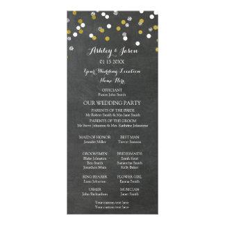 Chalkboard Gold Silver Confetti Wedding Program