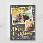 """Chalkboard Gold Snow Holiday Card<br><div class=""""desc"""">Our Chalkboard Gold Snow Christmas Photo Card features a chalkboard background with gold and white snowflake accents around two photo frames. The gold brushed script Merry Christmas message makes this the perfect card to wish family and friends a very Merry Christmas!</div>"""