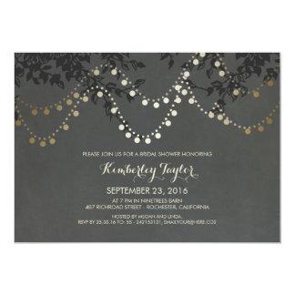 Chalkboard Gold String Lights Bridal Shower Card