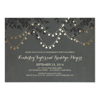 Chalkboard Gold String Lights Engagement Party Card