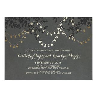Chalkboard Gold String Lights Rehearsal Dinner Card