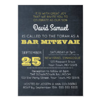 Chalkboard Golden Bar Mitzvah Invitation