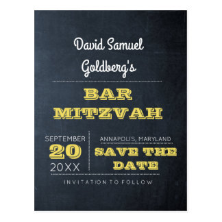 Chalkboard Golden Bar Mitzvah Save the Date Postcard