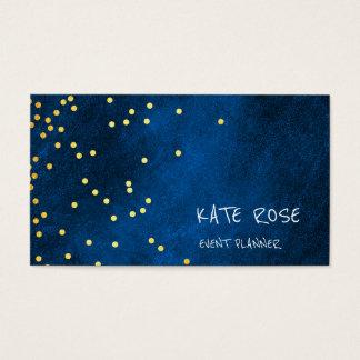 Chalkboard Golden Confetti Blue Marine Pastel Business Card