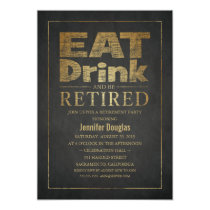 Chalkboard Golden Effect Funny Retirement Party Card
