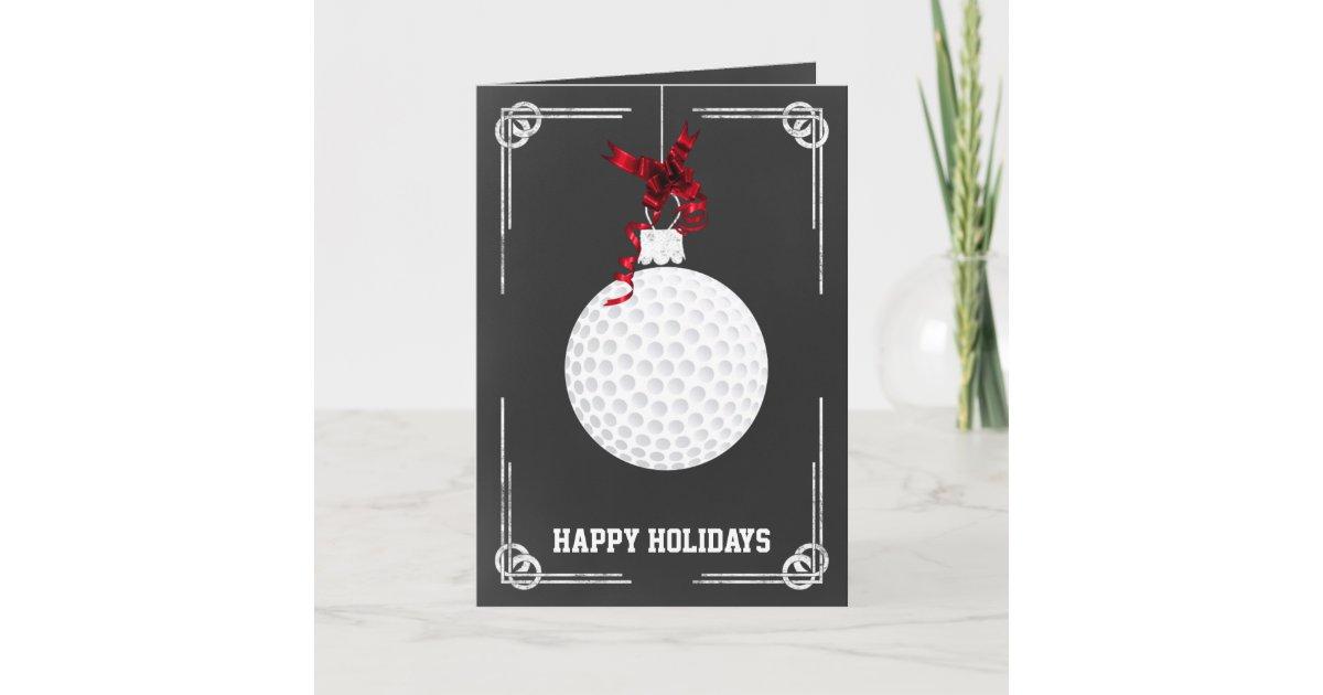 chalkboard golfer Christmas Cards | Zazzle.com